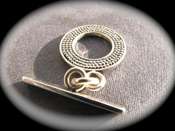 Detailed Dot sterling silver toggle clasp - round bali style 14mm