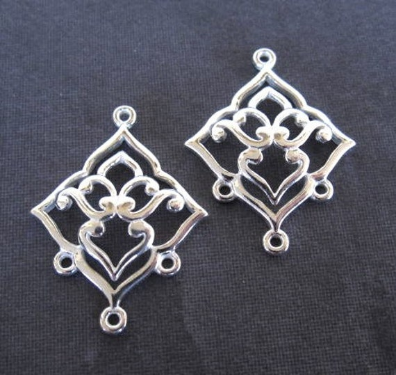 Lotus Girl Chandelier Links - Solid sterling silver findings - for earrings - 26mm X 20mm