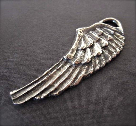 Angel Wing Pendant - Handcrafted - lost wax art - 52mm X 19mm - SOLID STERLING SILVER - oxidized and polished - large size