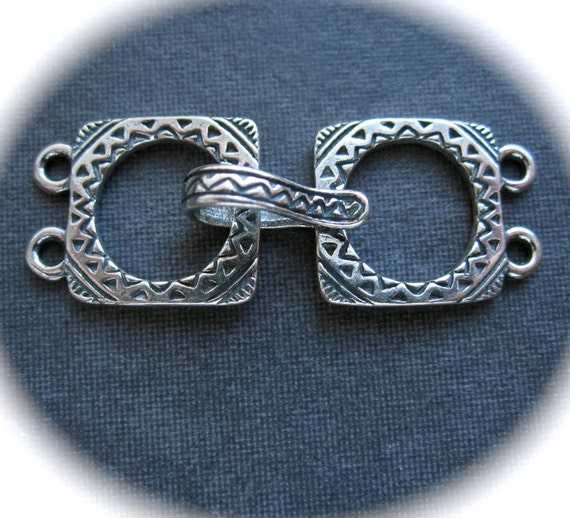 Southwest Square - Two strand multiple strand Clasp - Solid Sterling Silver 28mm X 12mm