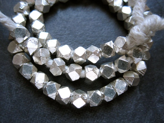 3mm Solid Sterling Silver heavy Faceted Cube Beads - 8 beads
