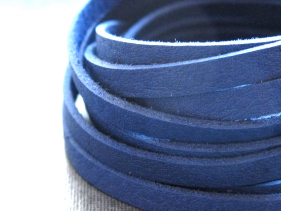 Indigo Blue SOFT Leather Lace   4ft.    jewelry grade quality   - 3mm wide and 1mm thick