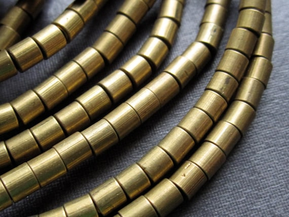 Large Holed Brass Tube Beads - 15 inches - 3mm X 3.5mm - smooth tube beads - 1.4mm hole