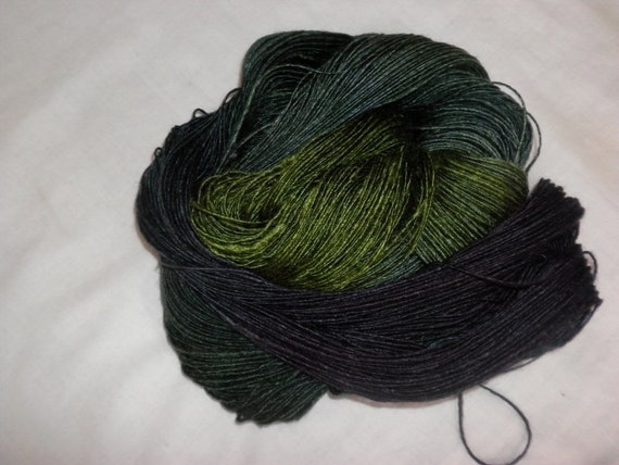 Handpainted Yarn - Soft Wool Silk Blend  Sport wt. Yarn  DARK FOREST