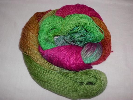 Handpainted Yarn - 4/2 Soft Cotton Yarn  --SPICES--420 yards--