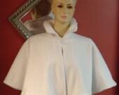 Victorian Bridal Capelet,Cape,Wedding Cover Up,Shawl,White Fleece