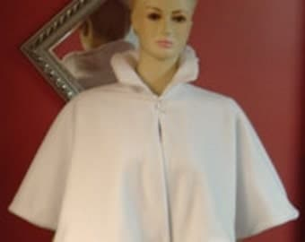 Victorian Bridal Capelet,Cape,Wedding Cover Up,Shawl,White Fleece