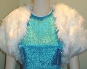 Ivory/Ivory Faux Fur Bolero/Shrug/Crop Jacket/Fully Lined-Short Sleeve-Formal-Wedding/Bridal
