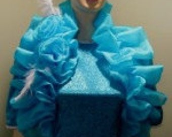 Bridal Bolero,Turquoise Shrug Sleeveless,Bolero Bridal Wrap,Wedding Shrug,Wedding Bolero,Bridal pleated Stole,Shoulder Wrap