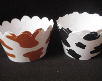 Cow Print Cupcake Wrappers- Black or Brown Spots