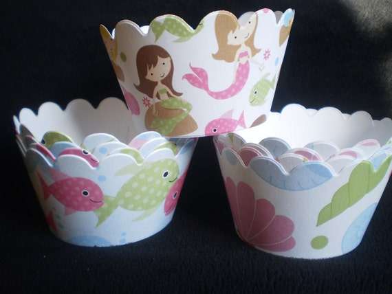 Custom Under the Sea Mermaid Cupcake Wrappers (12)