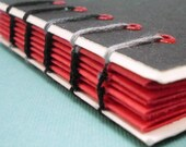 Black and Red Hand Stitched Coptic Notebook