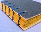 Journal Notebook - Blue and Yellow  Coptic Bound - Recycled Paper