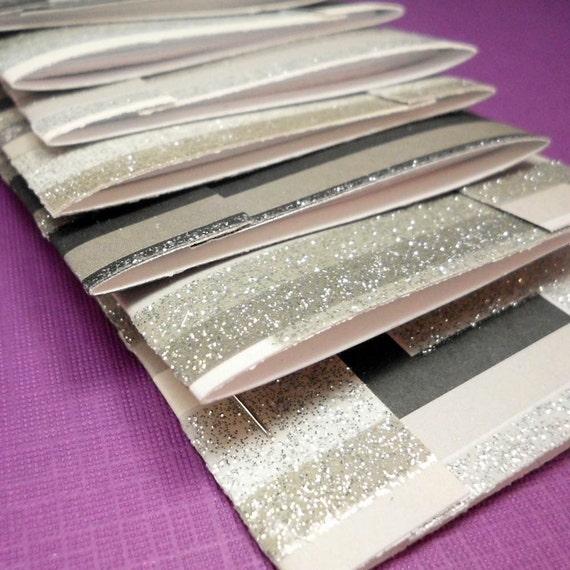 Matchbook Notebooks Black Glitter Stripe Set of 8
