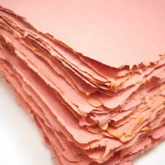 Handmade Recycled Paper Apricot Orange - 8 Sheets