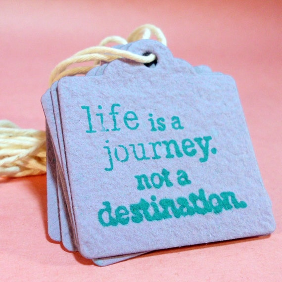 Life is a Journey Handmade Recycled Paper Tags - Set of 12