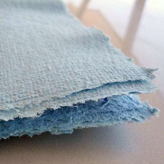 Shades of Blue Handmade Recycled Paper - 10 Sheets 8x10
