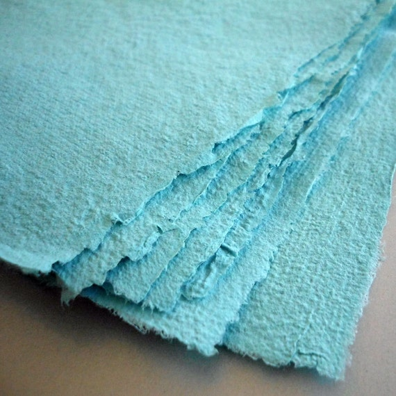 Teal Handmade Recycled Paper - 8 Sheets 8x10