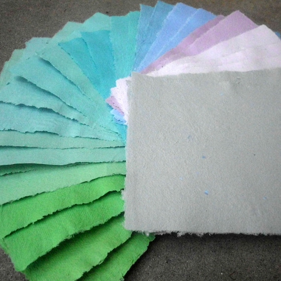 Handmade Recycled Paper Shades of Cool - 13 Sheets 8x10