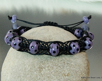 Macrame Bracelet -Purple Black Lampwork Macrame Bead Bracelet - KTBL