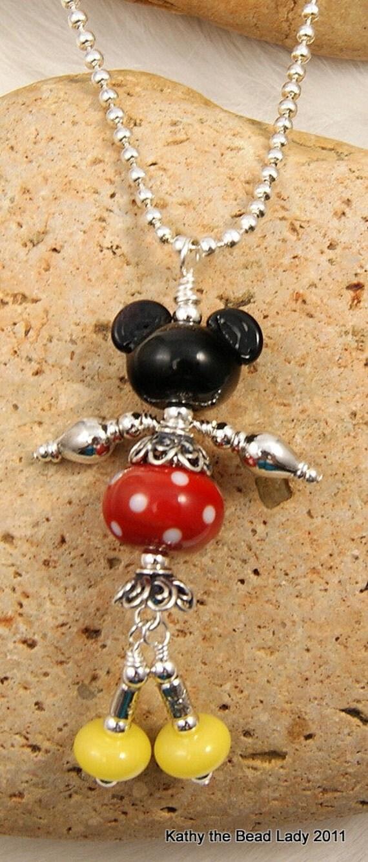 Mickey Lampwork Sterling Silver Bead Pendant-KTBL