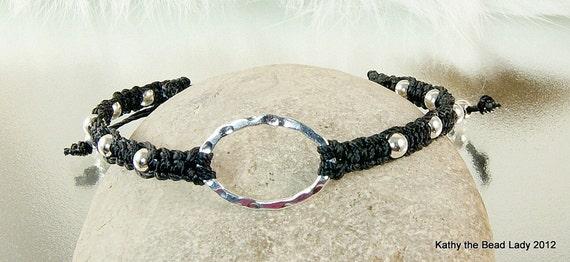 Karma Bracelet - Black Macrame with Sterling Silver Karma Circle Bead Bracelet - KTBL