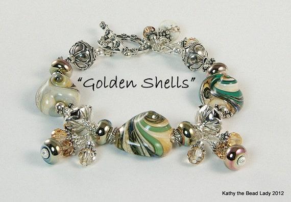 Lampwork bracelet - Golden Shells - Metallic Lampwork Karen Hill Tribe Bead Bracelet - KTBL