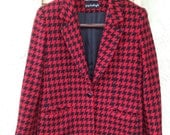 Women's Vintage Blazer - Black and Red Houndstooth by Giorgio Sant' Angelo