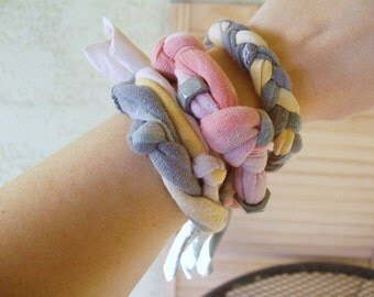 Dip Dyed Cotton Bracelet Set of 3 - An Upcycled Accessory