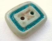 Teal Rectangular Ceramic and Glass Art Button