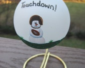 Football Snowman Christmas Ornament with Stand Free Personalization