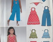 Easy Girls Halter Dress or Top, Pants, Jumpsuit, Shorts and Head Scarf New Look 6361 Sewing Pattern