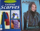 Knitting Scarves Pattern Books DeStash  Simple 1-2-3 and Patons Designer Series