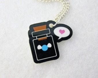 Blue Fairy Bottle Love Necklace Legend of Zelda Acrylic Pendant