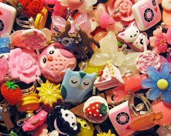Kawaii Cute and Kitsch Grab Bag - 4 Items or More - Cabochon Pendant Ring Pin