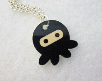 Black Ninjapus Ninja Octopus Pendant