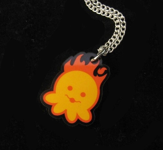 Fire Elemental Zodiac Octopus Necklace