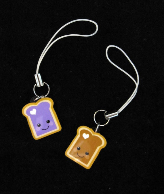 Peanut Butter and Jelly Best Friend Cell Phone Strap Set