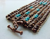 Peyote weave - Dark Bronze and Turquoise - Bracelet