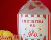 Circus Carnival Water Bottle Labels - PRINTABLE only