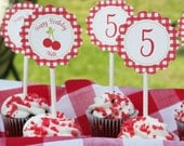 Cupcake Toppers - Cherry Picnic - PRINTABLE only