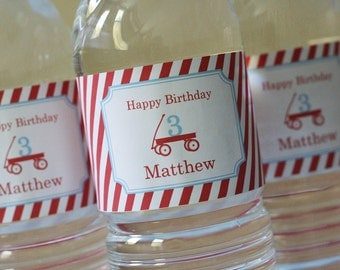 Red Wagon Party Water Bottle Labels - PRINTABLE only