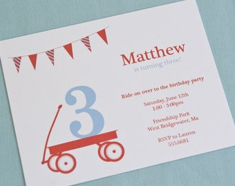 Red Wagon Birthday Party Invitation - PRINTABLE only