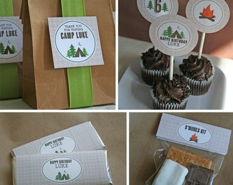 Camping Birthday Party - PRINTABLE ONLY - Banner, Toppers, Tags, Invitation and more