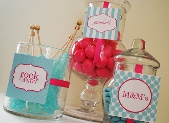 candy buffet labels - printable, diy, digital file - fancy and stylish wedding favor tags