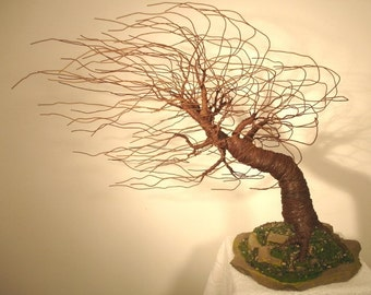Mighty Wind Swept, wire tree sculpture - by Sal Villano