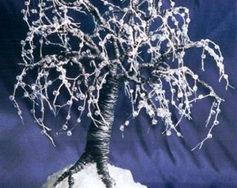 Black Ice - Beaded Wire Tree Sculpture