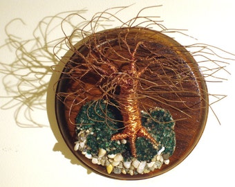 Wind Swept on Round Base - Wall Art Tree Sculpture