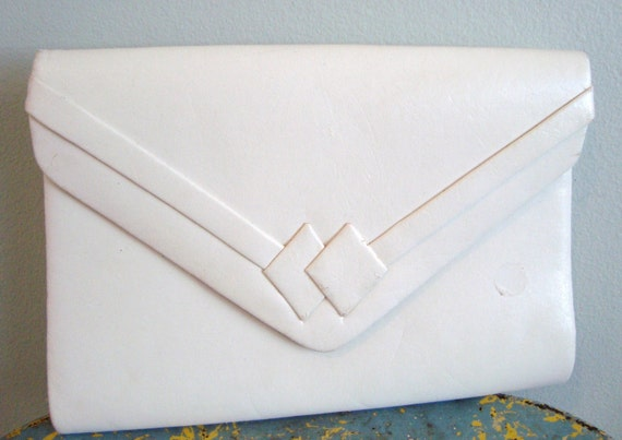 Vintage white leather clutch