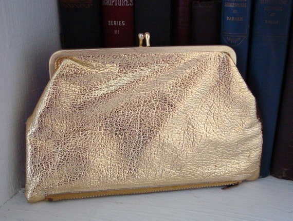 Vintage metallic gold double sided change purse